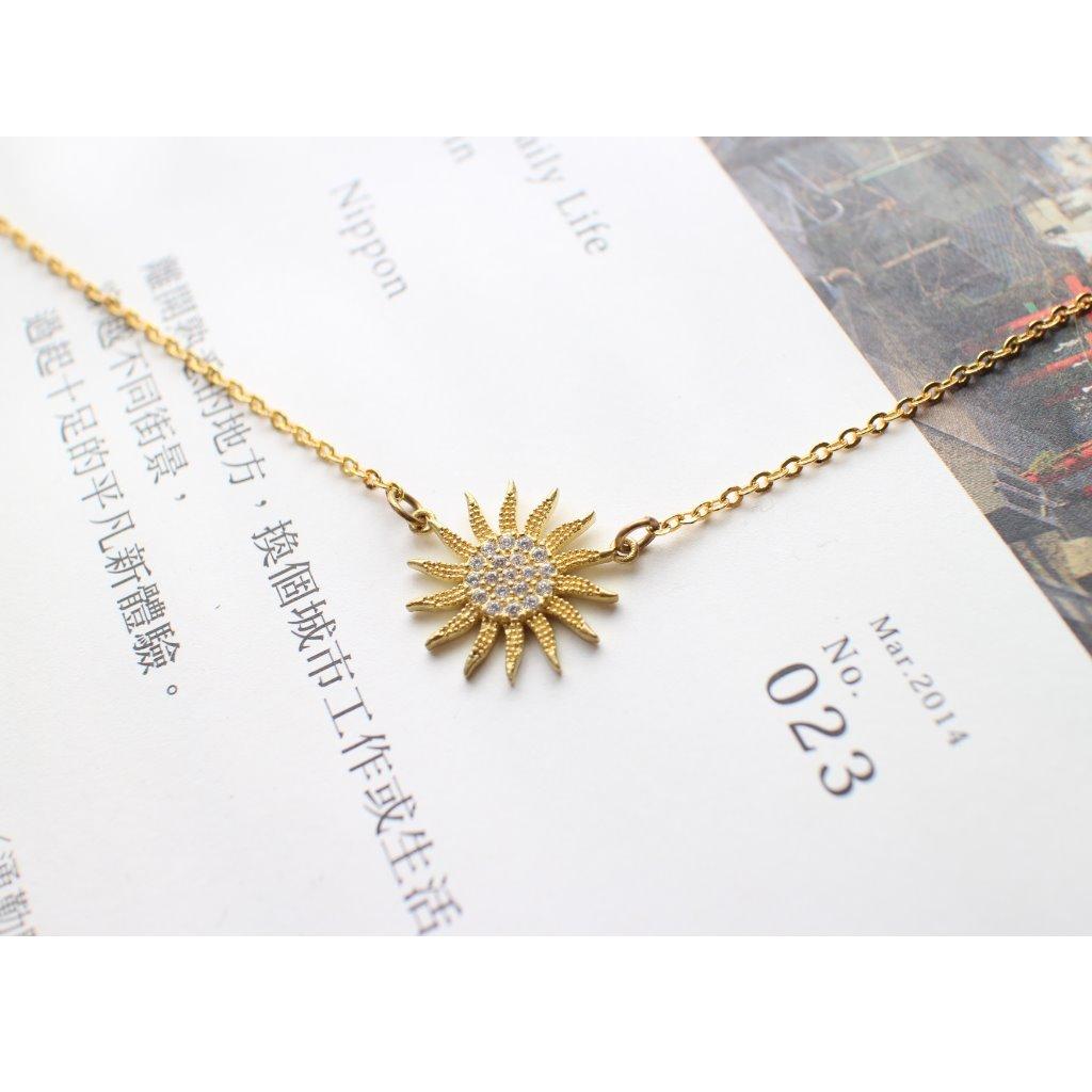 Fuchia-幸運太陽-鋯石黃銅項鍊
