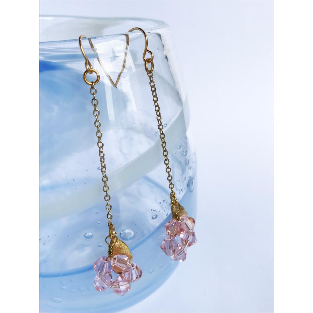 粉紅水晶珠長耳環 日系簡約