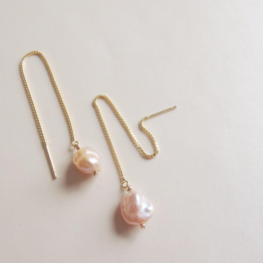 簡約【 個性珍珠 】長耳針耳線 | 可較長短 | 925 鍍18K金