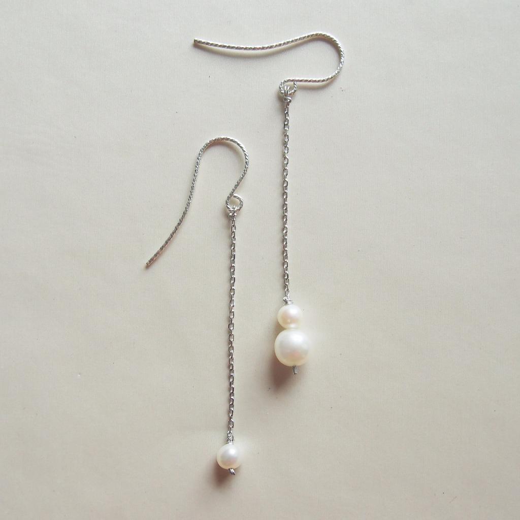 不對稱大細珍珠【小女人】簡約長耳環|925純銀