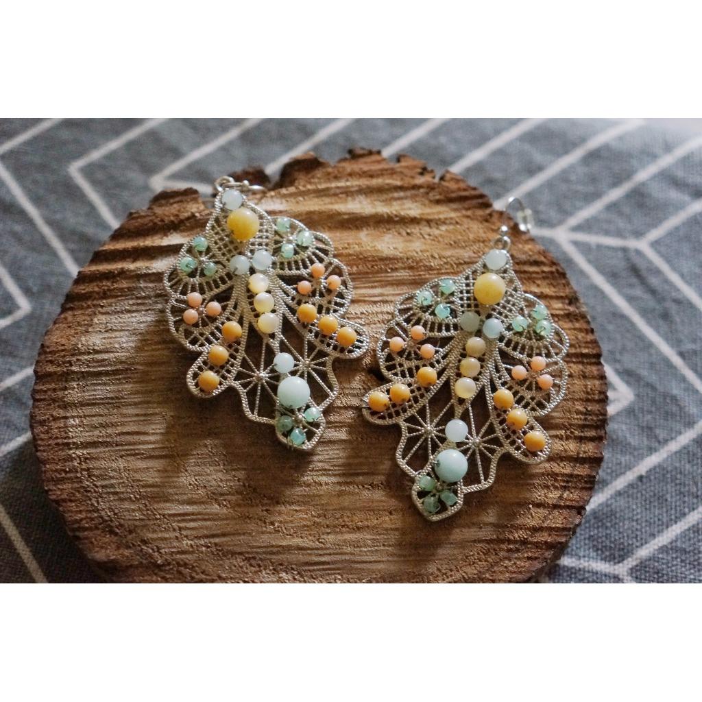 銅線纏繞系列§ 獨件-【溫婉】天然珠石。纏繞。簍空耳環
