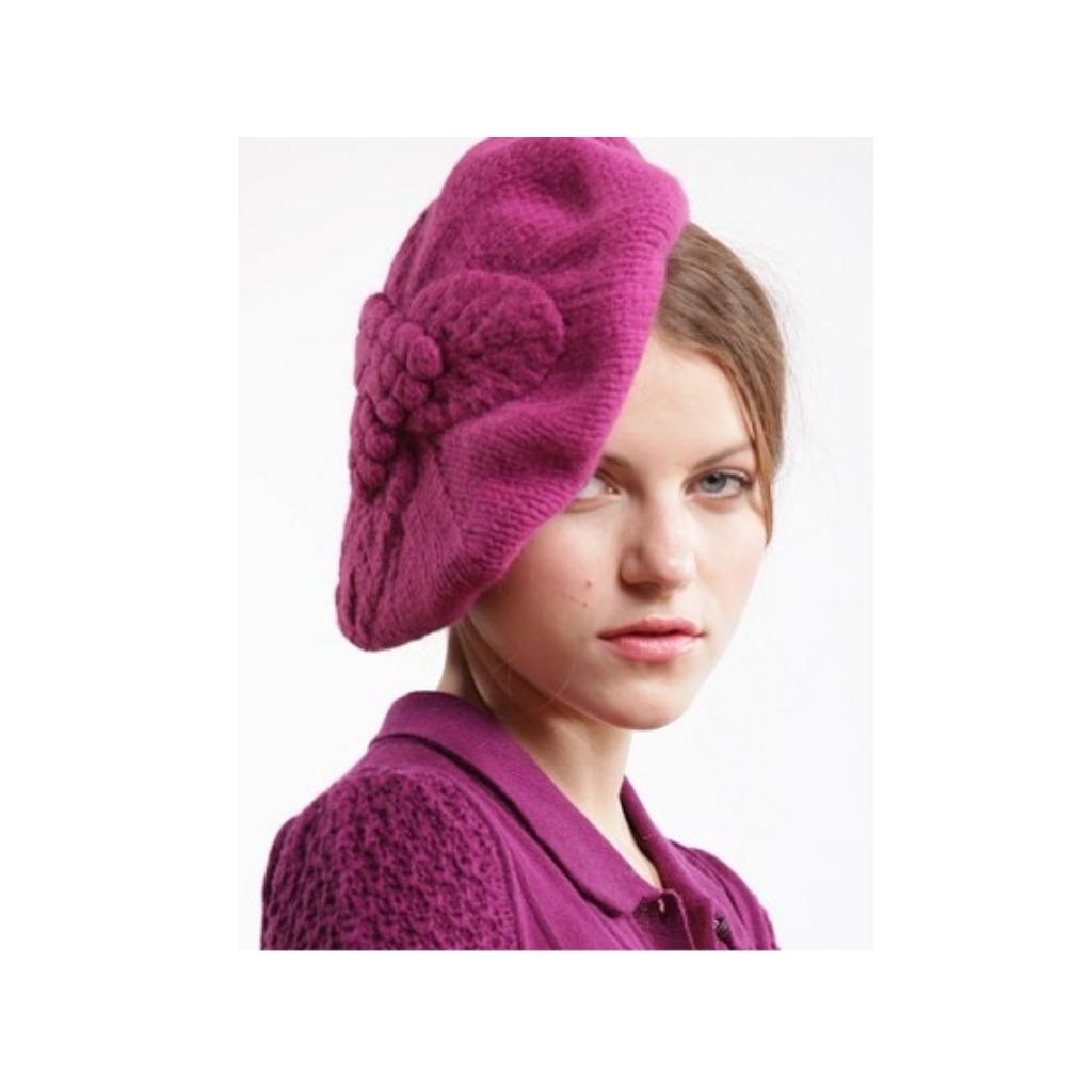 限量/英國倫敦Lowie/稚嫩羊毛葉子花紋貝雷帽-紫色