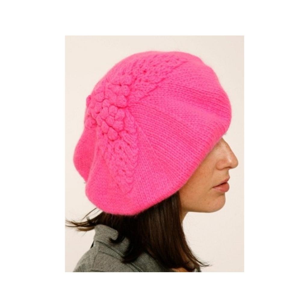 限量/英國倫敦Lowie/稚嫩羊毛葉子花紋貝雷帽-粉紅色