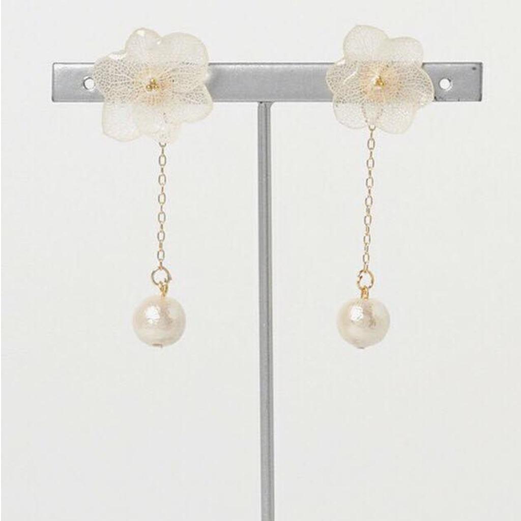 白繡球永生花X日本綿綿珠長耳環