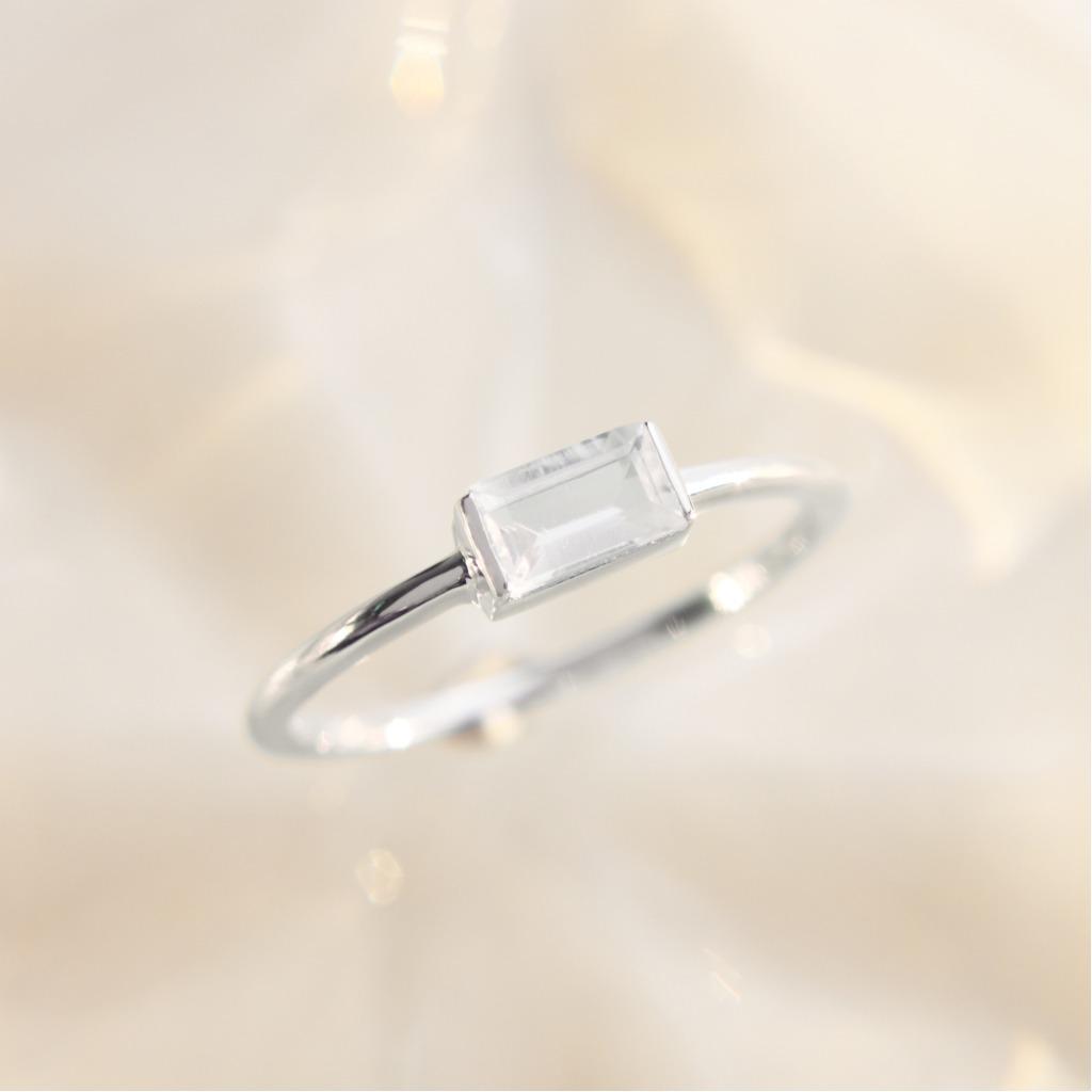 3:am La Forme - 18K鍍金托帕石銀戒指 銀色