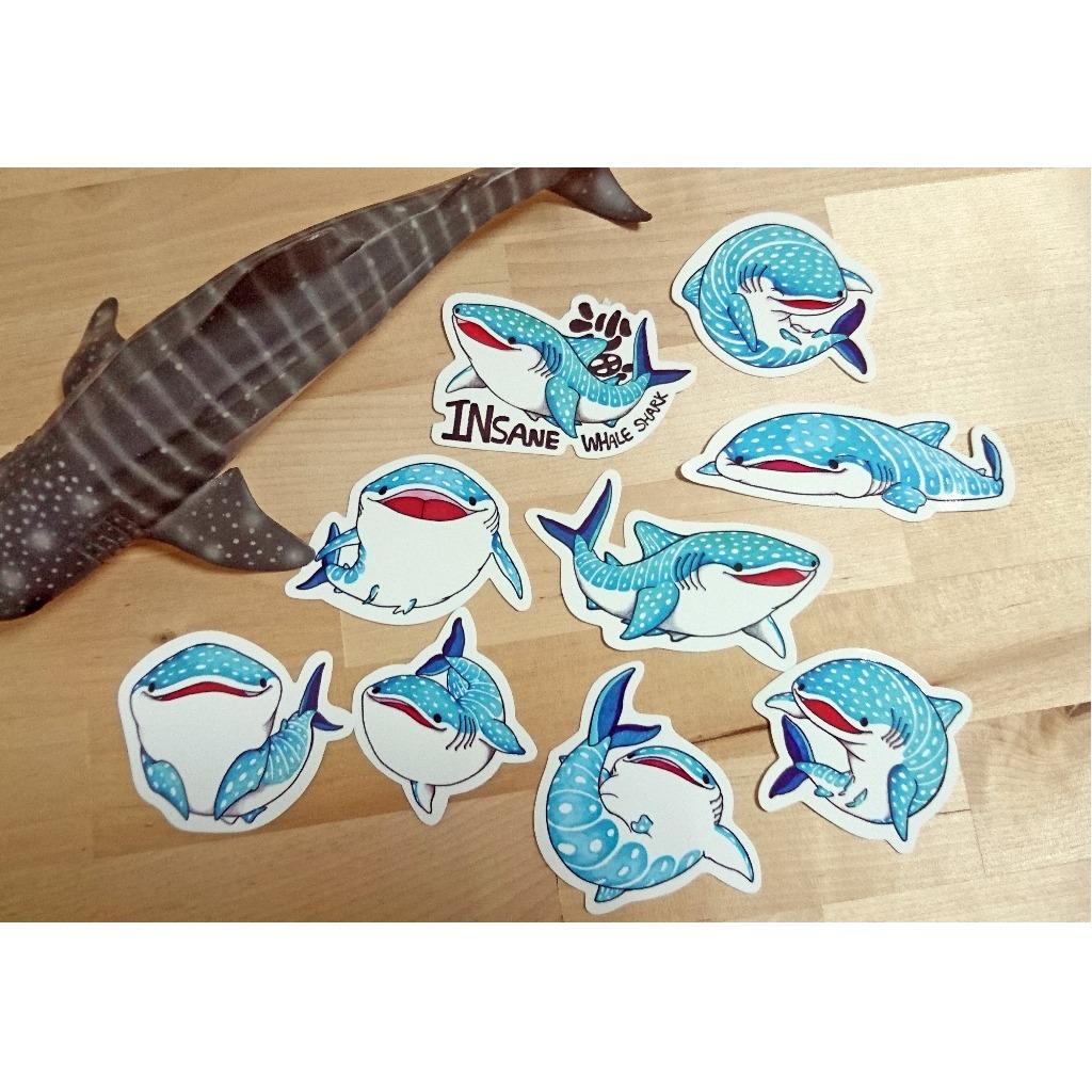 豆腐鯊(鯨鯊)點點 spot whale shark 貼紙組 9入 ( 貼紙 / 文具 / 鯨鯊 / 鯊魚 )