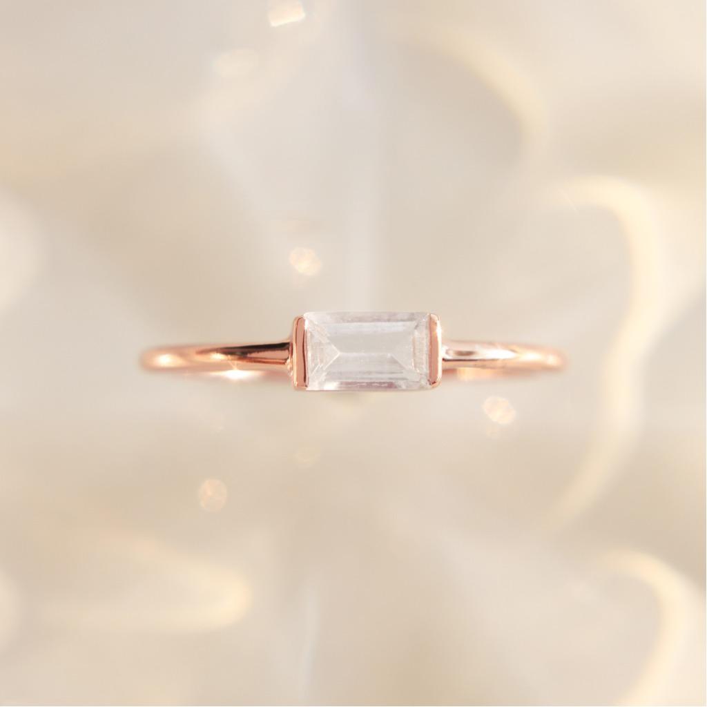 3:am La Forme - 18K鍍金托帕石銀戒指 玫瑰金