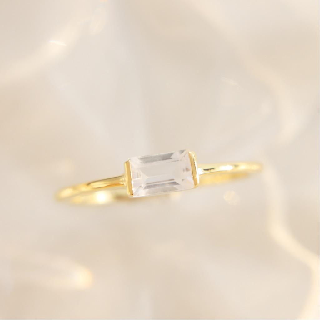 3:am La Forme - 18K鍍金托帕石銀戒指 金色