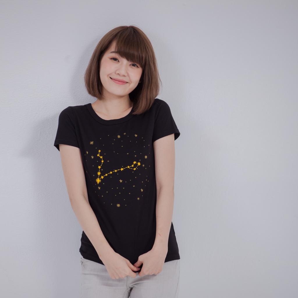 Star sign 星座連連看 蜜桃棉T恤/黑色