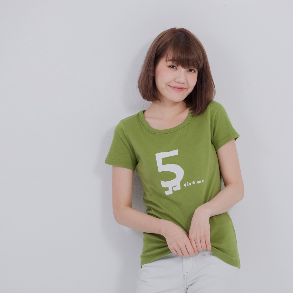 give me 5 蜜桃棉 短袖 女T 芥末綠