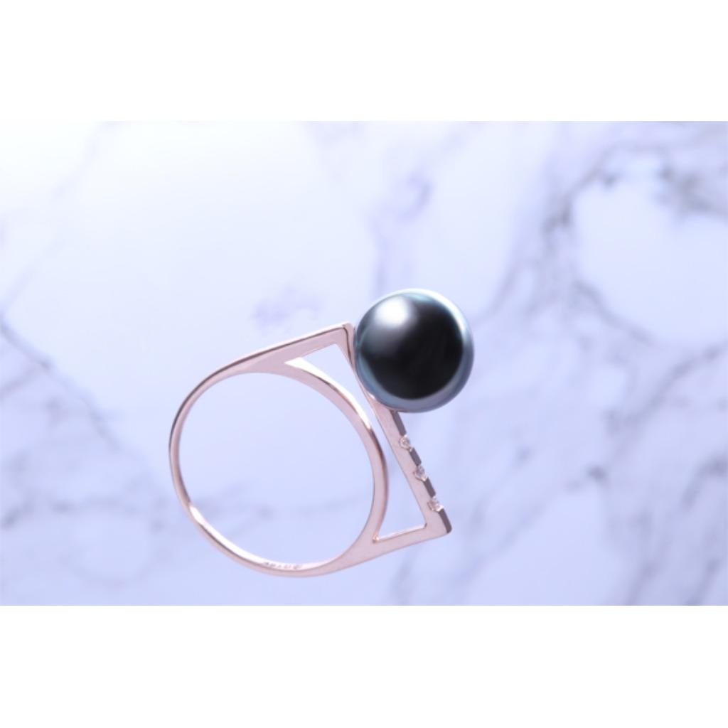 18K金 極簡單珍珠戒指