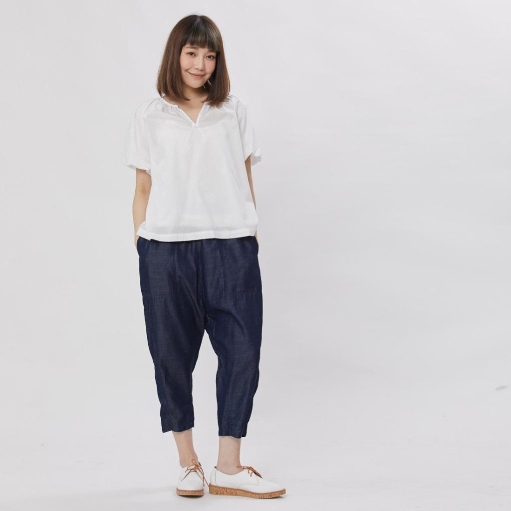 Max 覓私口袋剪接低檔褲/單寧藍