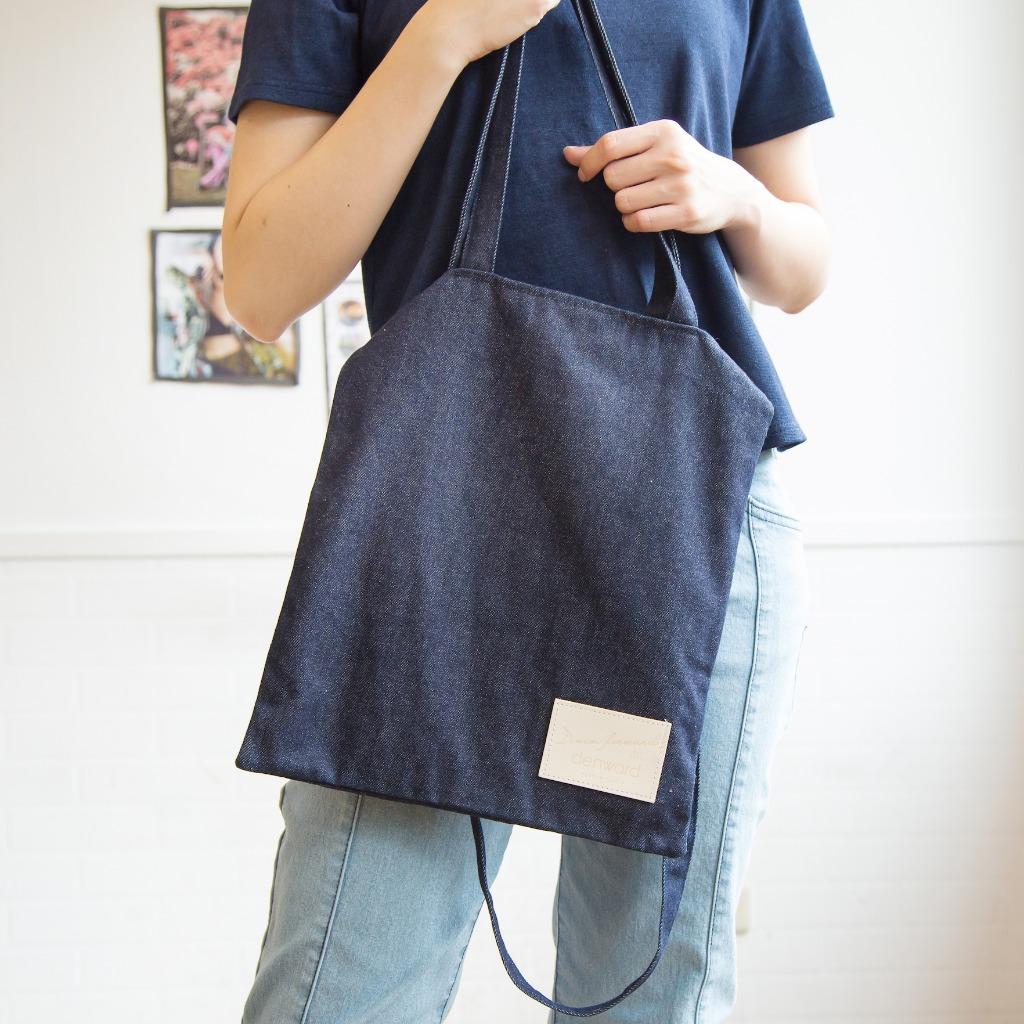 手提/肩背 兩用丹寧提袋