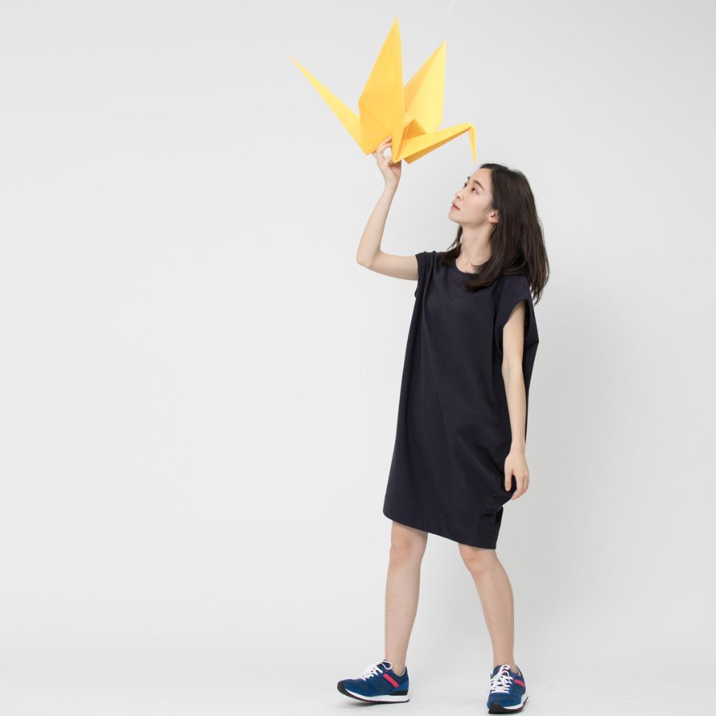 法國小毛圈燈籠弧形連衣裙藍色
