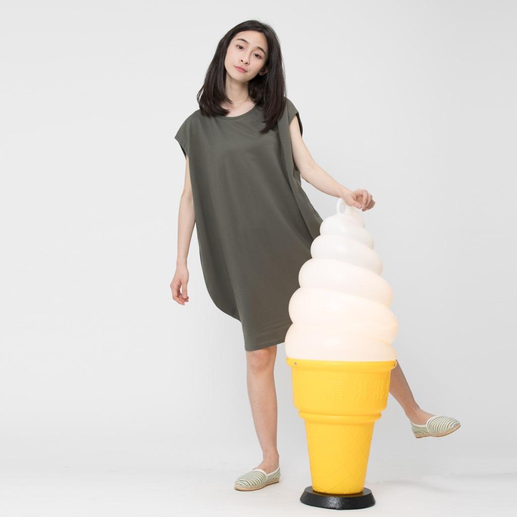 法國小毛圈燈籠弧形連衣裙橄欖綠