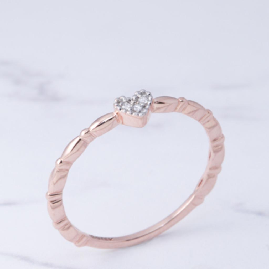 18K玫瑰金 簡潔小愛心戒指