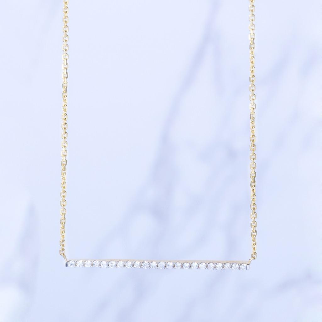 18K金 都會單線條小鑽石項鍊