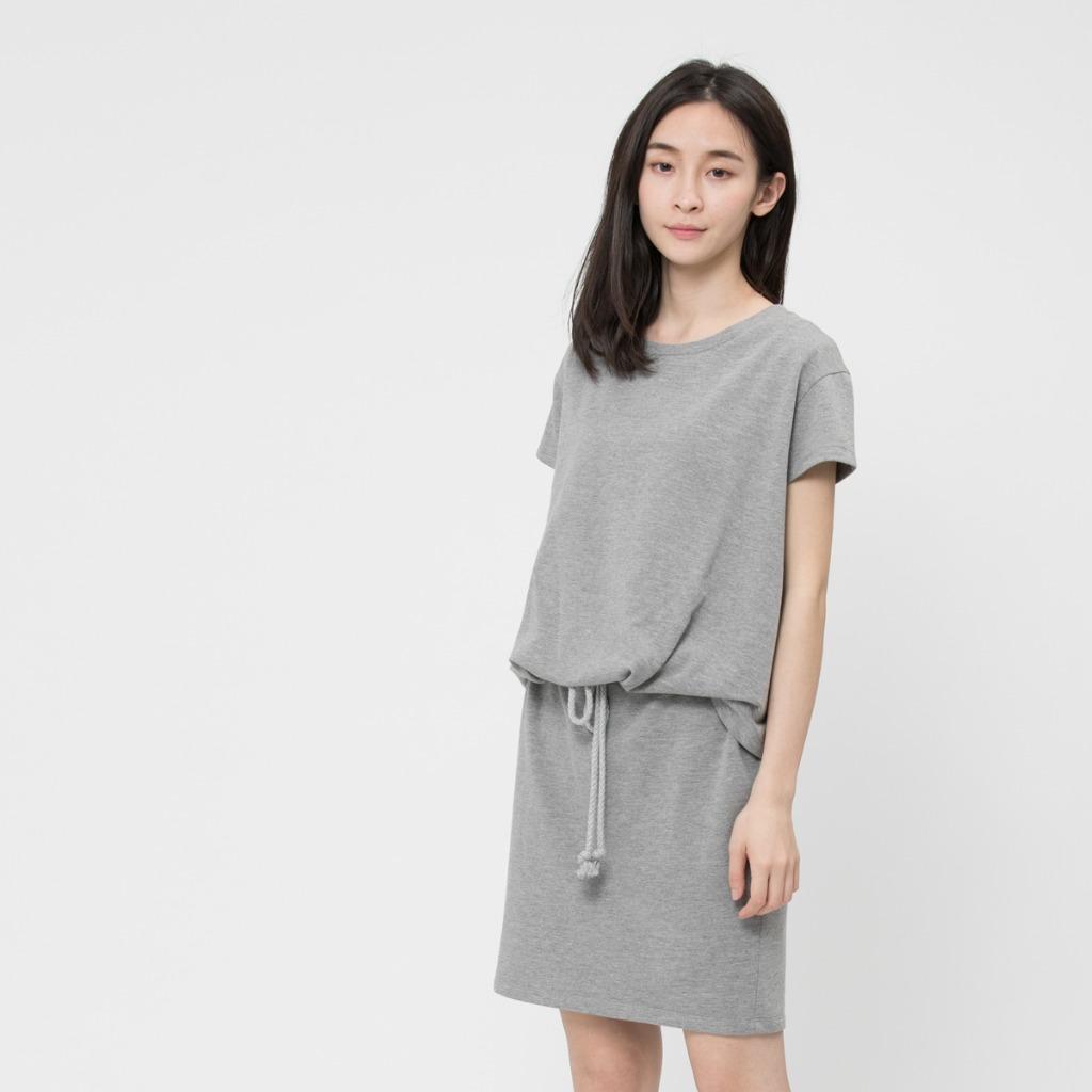 法國小毛圈衣裙洋裝/麻灰
