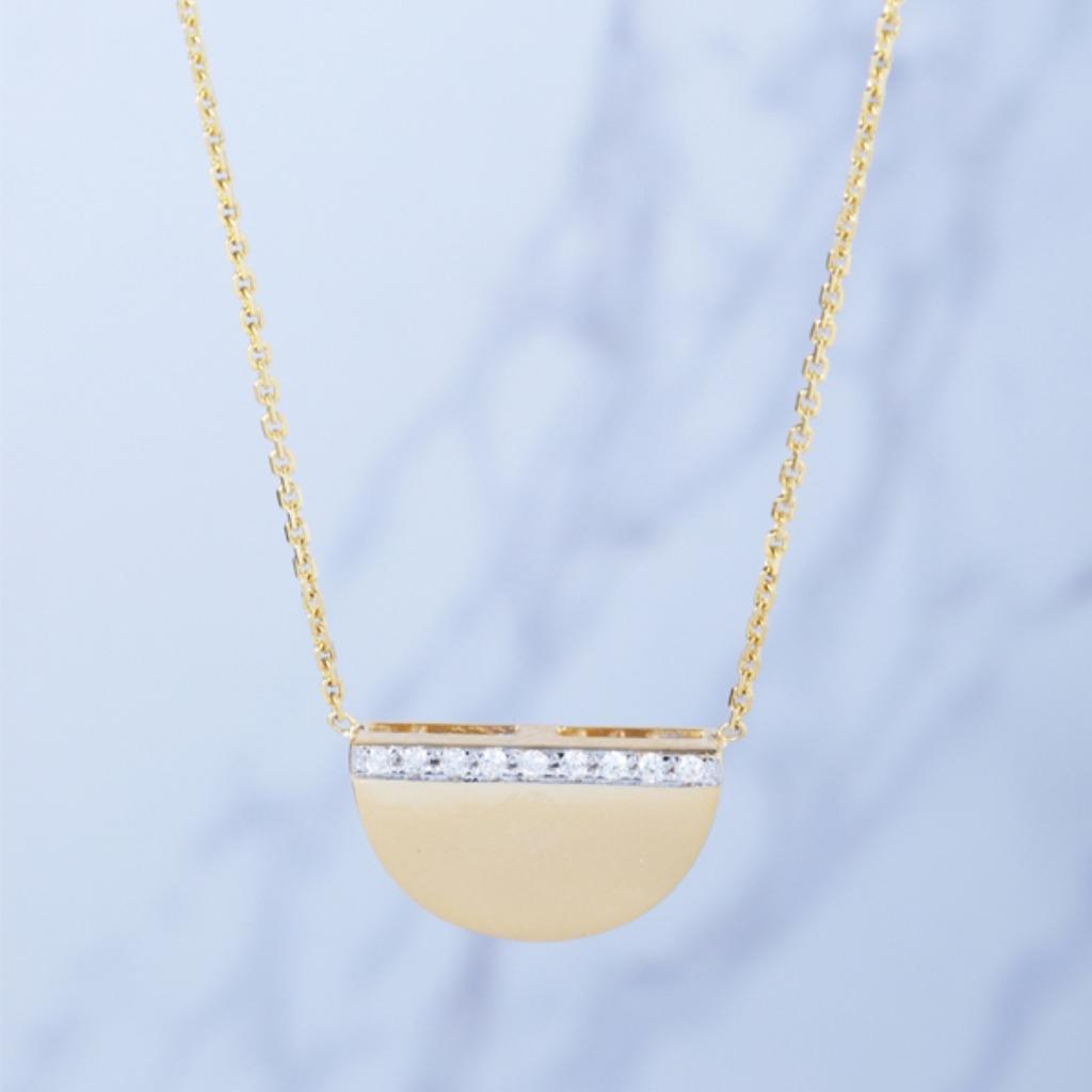 18K金 簡約幾何鑽石項鍊