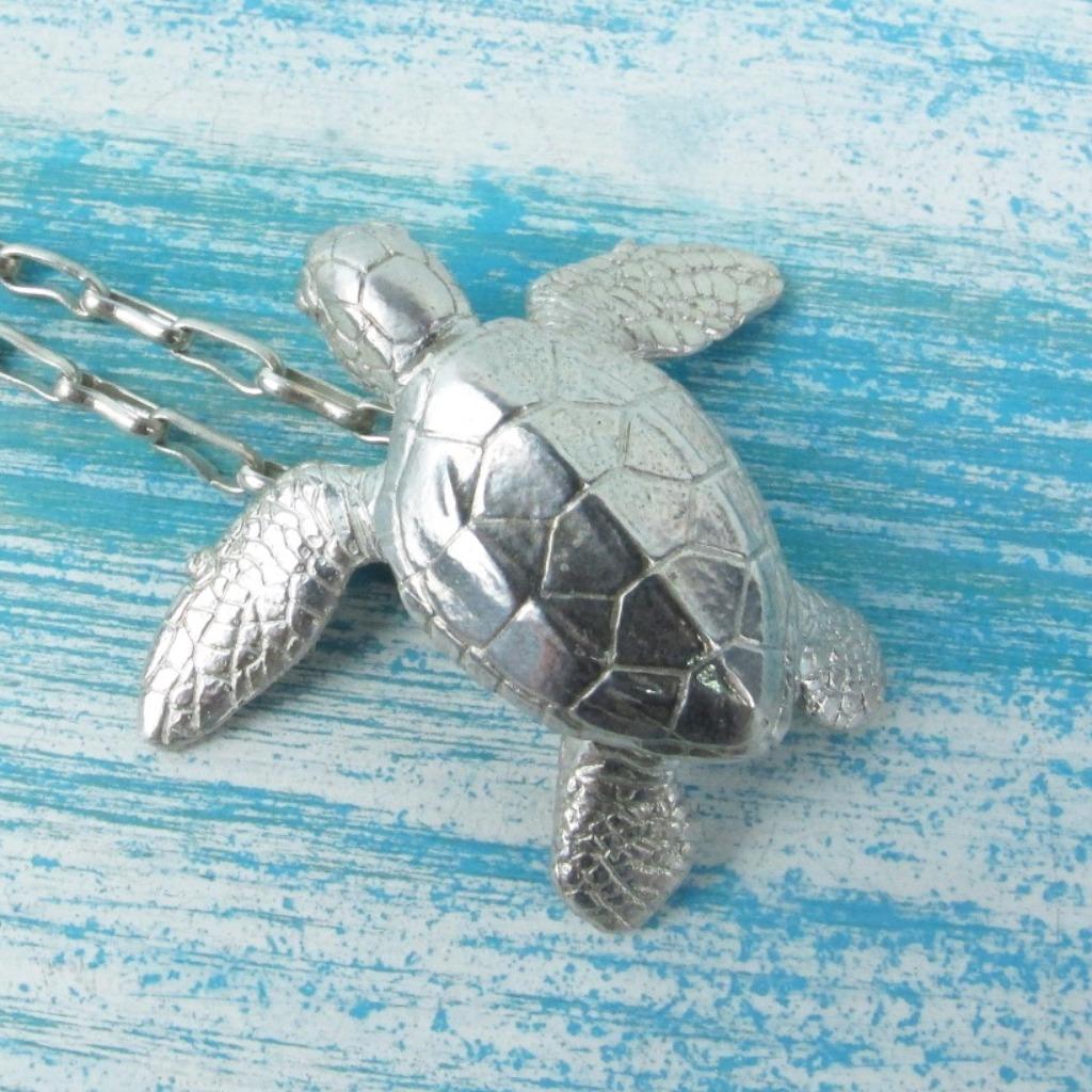 【Diving silver】925銀海洋潛水銀飾--立體寫實海龜墜飾