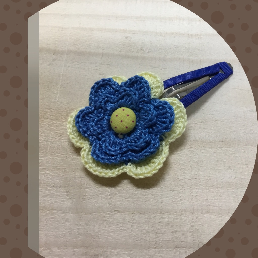 手工蕾絲編織髮飾-藍色黃邊蕾絲
