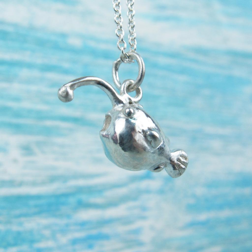 【Diving silver】925銀海洋潛水銀飾--迷你3D燈籠魚項鍊