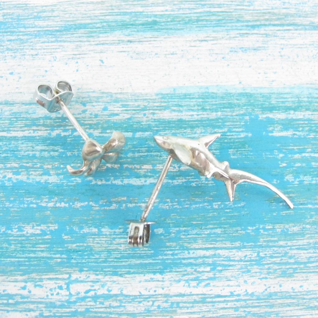 【Diving silver】925銀海洋潛水銀飾--迷你3D長尾鯊耳環