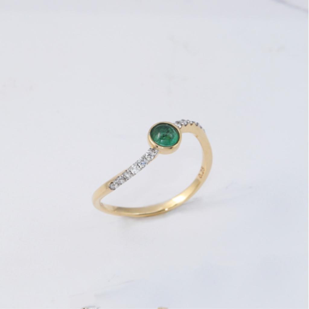 18K金 銀河祖母綠戒指