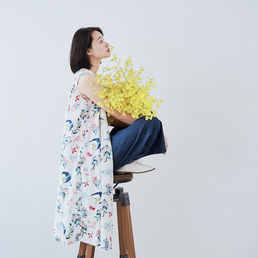 Birdie 無袖長版襯衫洋裝/花鳥