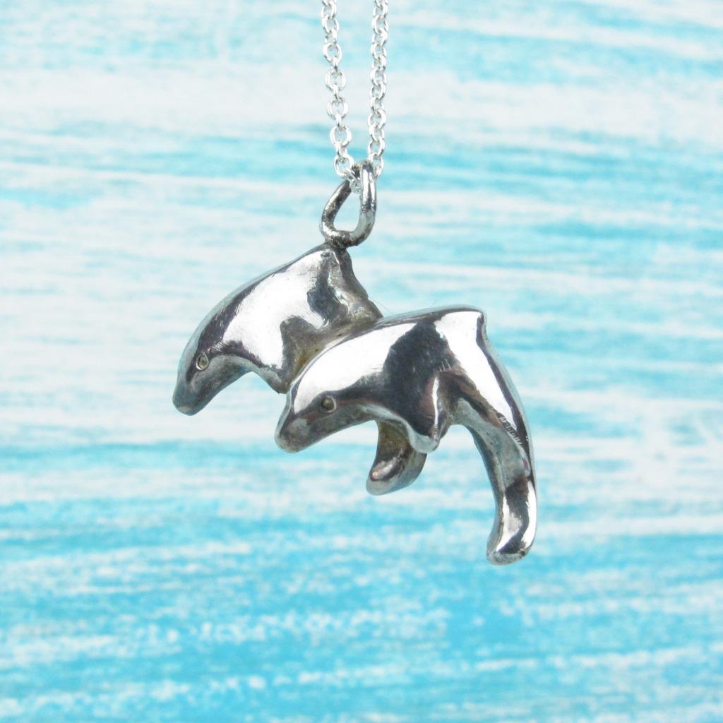 【Diving silver】925銀海洋潛水銀飾--雙海豚墜飾 Ⅰ