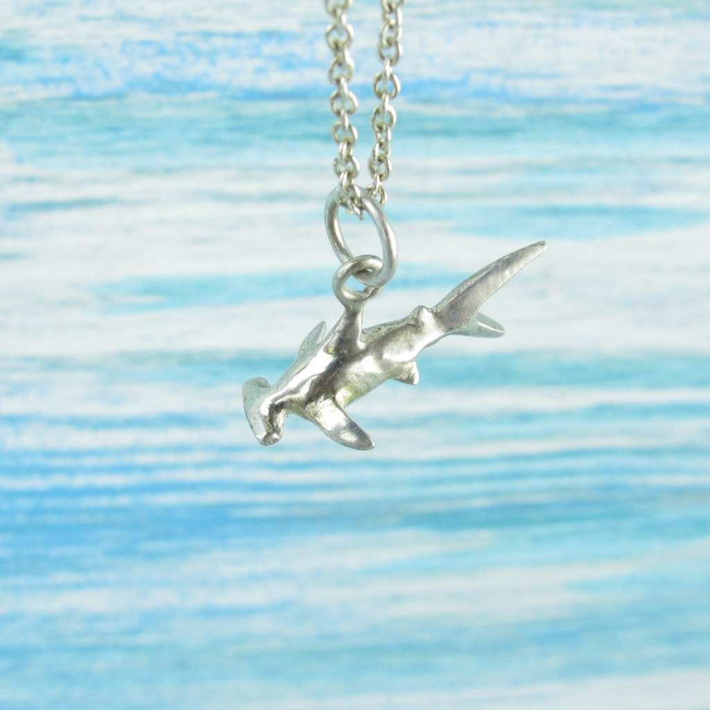 【Diving silver】925銀海洋潛水銀飾--迷你3D鎚頭鯊項鍊