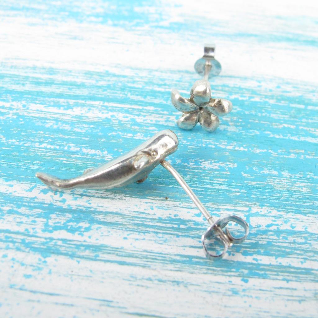 【Diving silver】925銀海洋潛水銀飾--迷你3D抹香鯨耳環