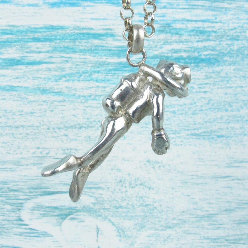 【Diving silver】925銀海洋潛水銀飾--潛水員墜飾