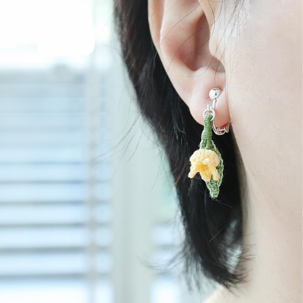 鈴蘭耳環 黃色 1朵花 鉤針編織  雨花系列 可改耳夾