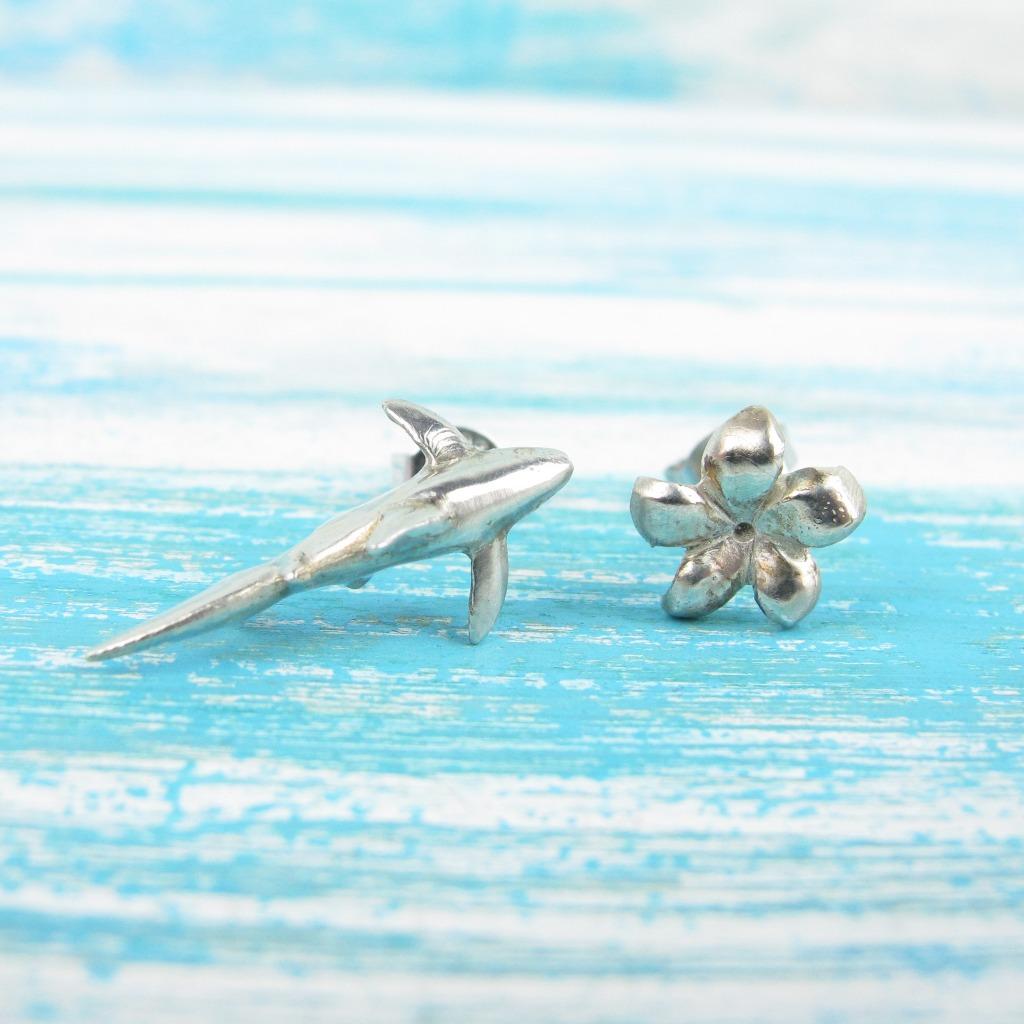 【Diving silver】925銀海洋潛水銀飾--迷你3D鯊魚耳環