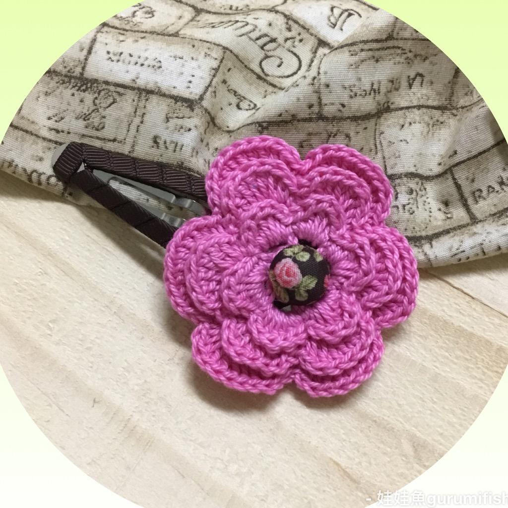 手工蕾絲編織髮飾-玫紅蕾絲