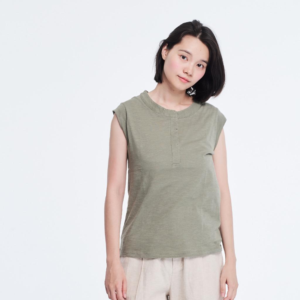 竹節棉小蓋袖半開襟T恤上衣 軍綠