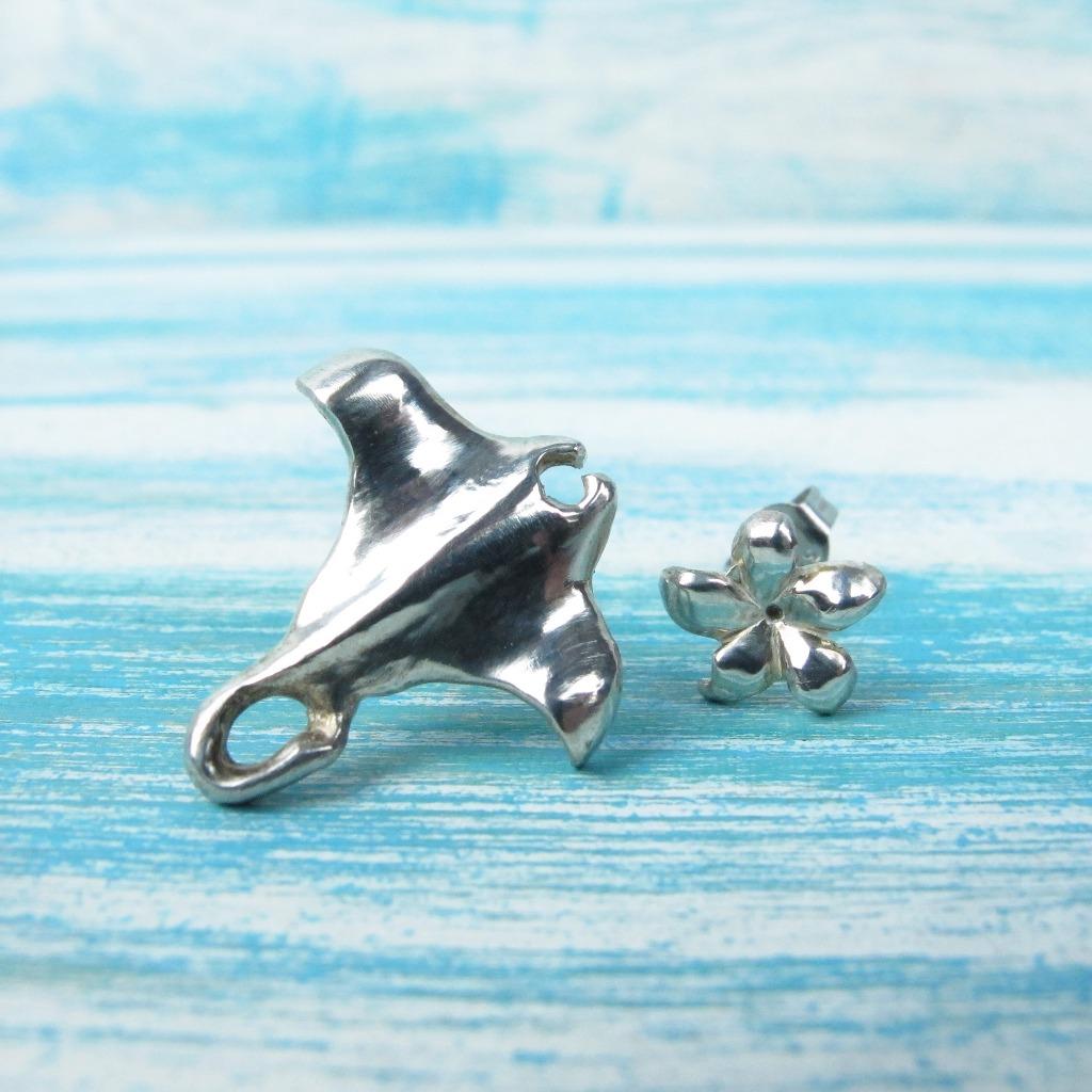 【Diving silver】925銀海洋潛水銀飾--小魟魚耳環