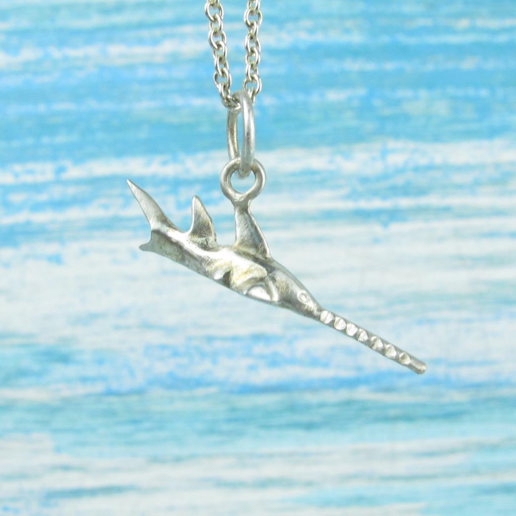 【Diving silver】925銀海洋潛水銀飾--迷你3D鋸齒鯊項鍊