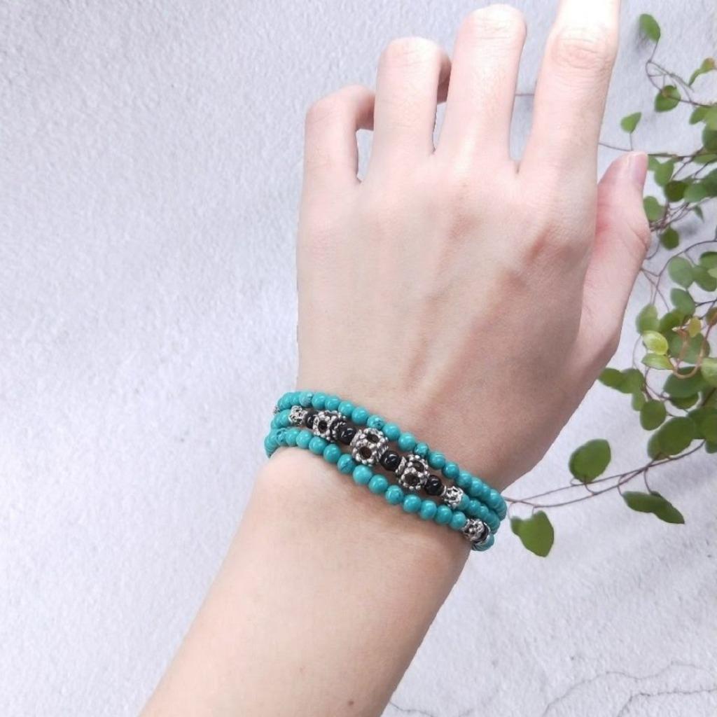 【108顆念珠系列】土耳其石*黑珊瑚*簍空骰子念珠多圈手串