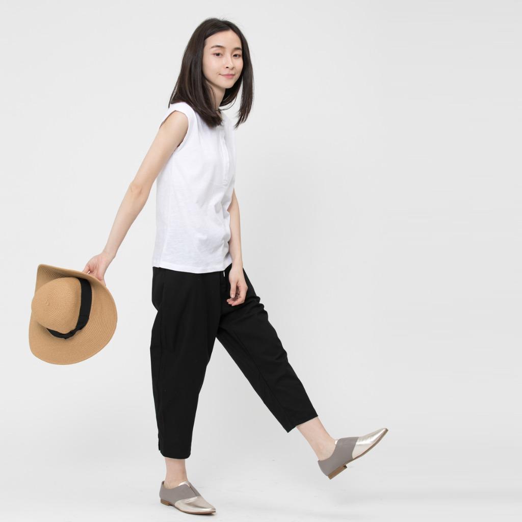 竹節棉小蓋袖半開襟T恤上衣