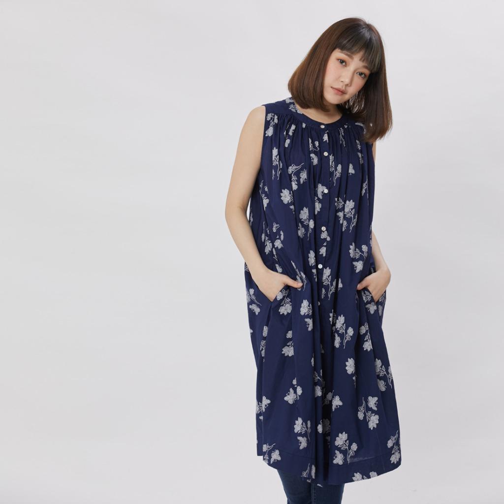 Birdie 無袖長版襯衫洋裝/藍蝶