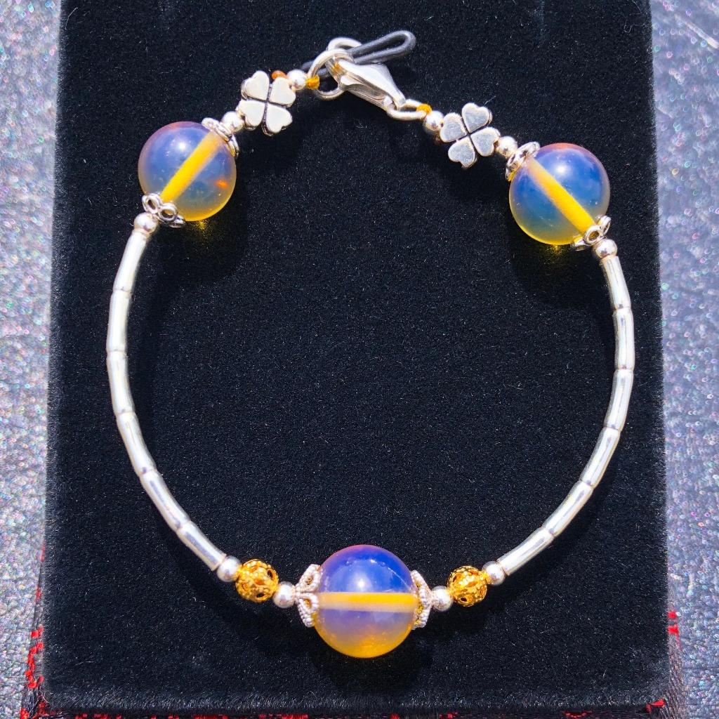 有機寶石天然多明尼加藍珀幸運草純銀手環|花草植物系列|TingXuan Jewelry原創設計