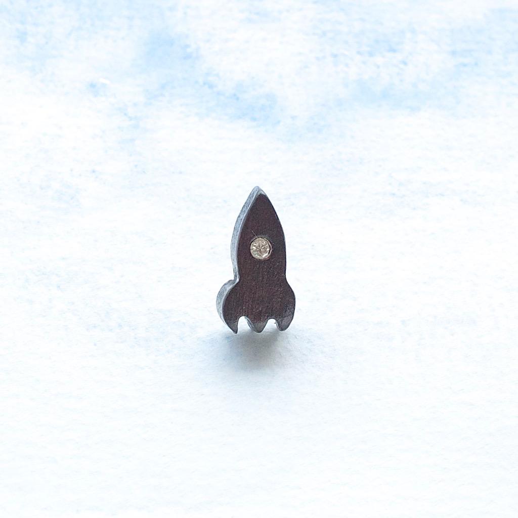 火箭 原木手工耳環 純銀耳針 單隻 禮物訂製