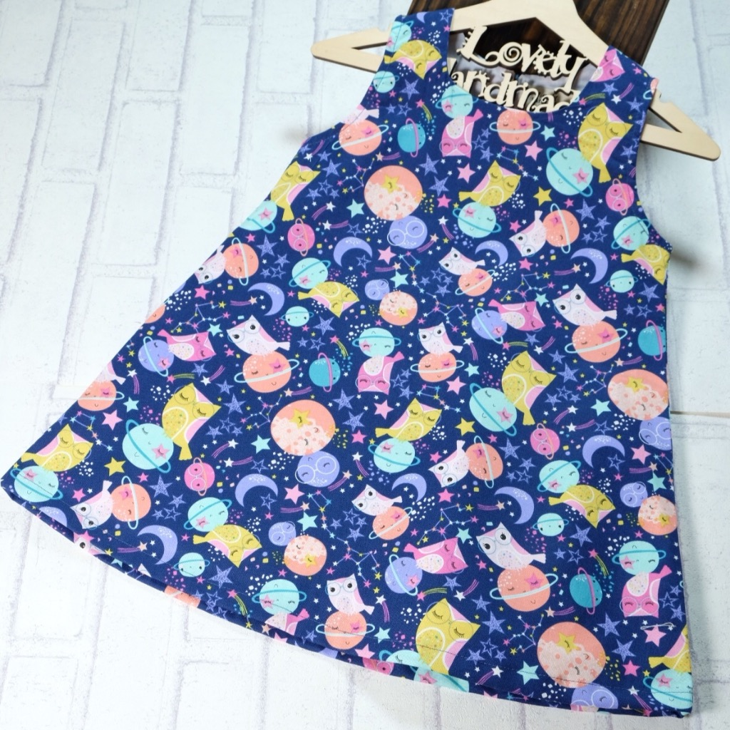 Midnight Owls on Planets Handmade Sleeveless Dress (Size140)