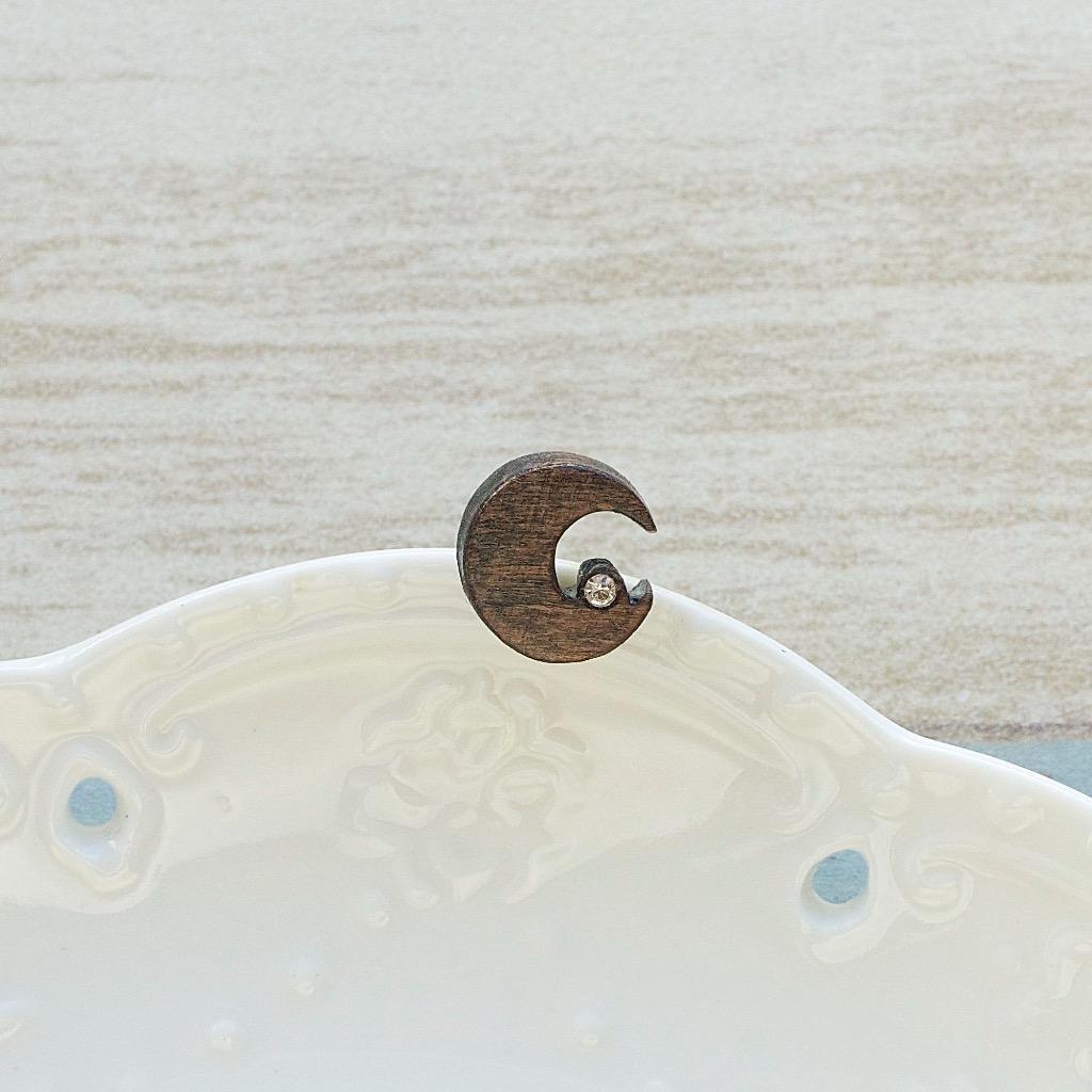 月 原木手工耳環 純銀耳針 單隻 生日禮物訂製