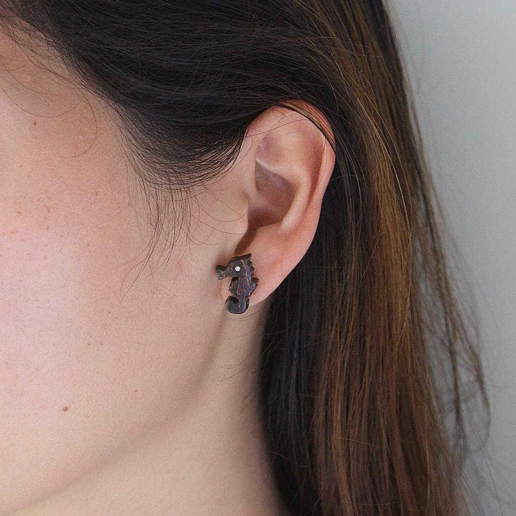 海馬 原木手工耳環 純銀耳針 單隻 禮物訂製