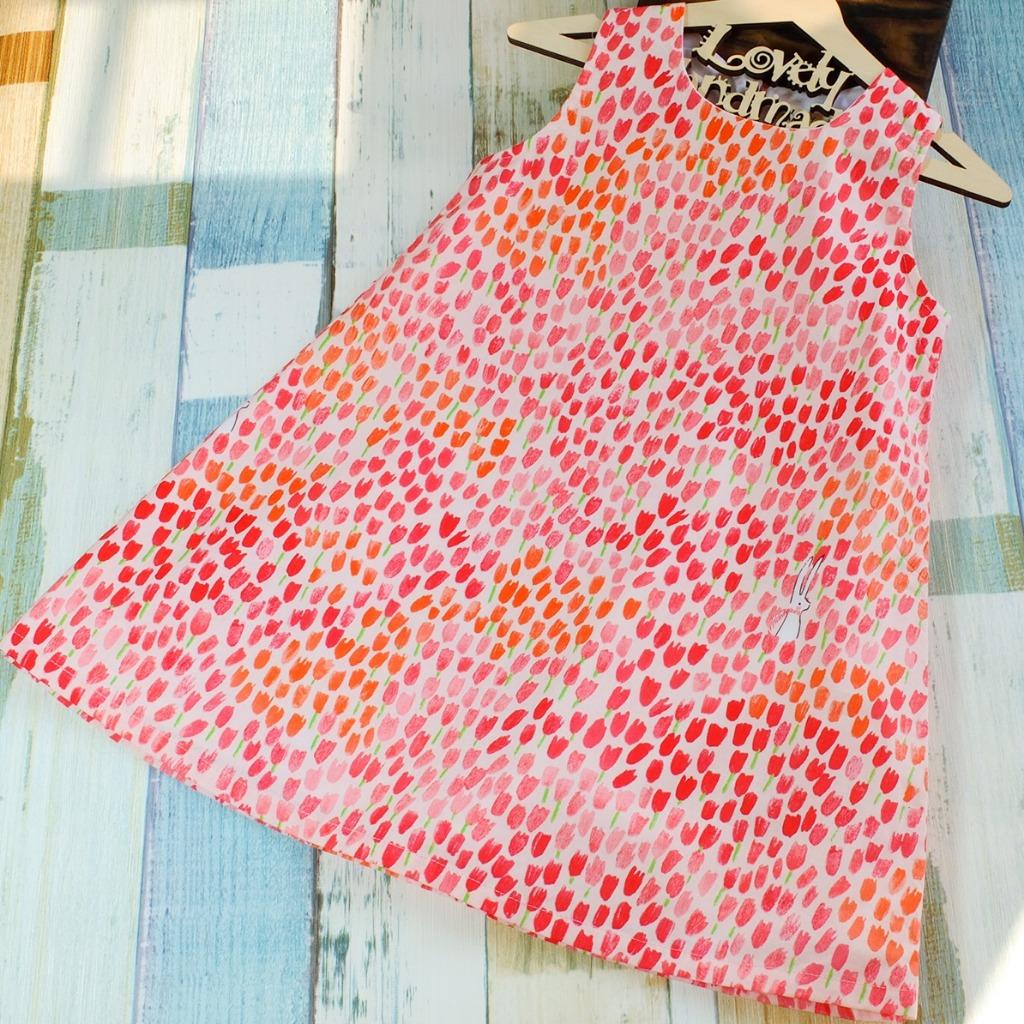 Tulip and Bunny Pink Handmade Sleeveless Dress (Size140)