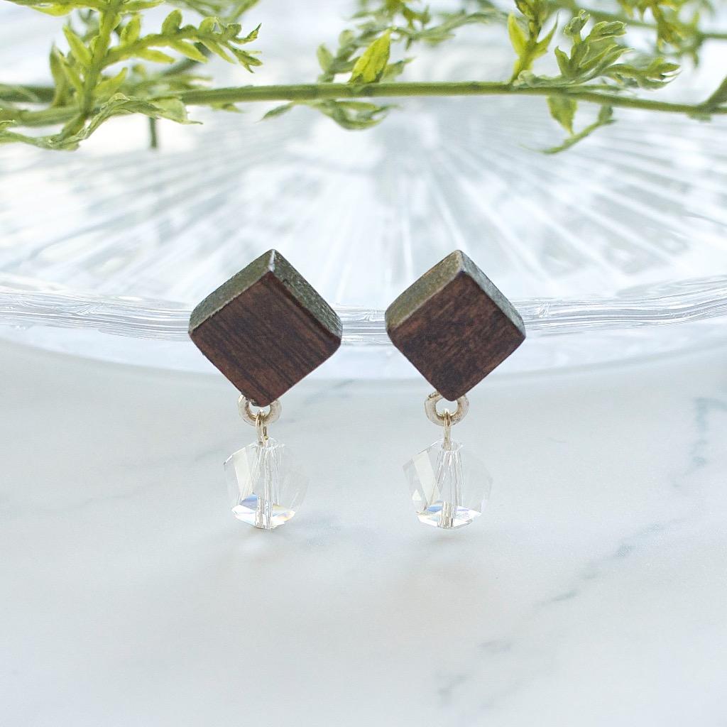方形原木 冰感水晶 手工耳環 純銀耳針 禮物訂製