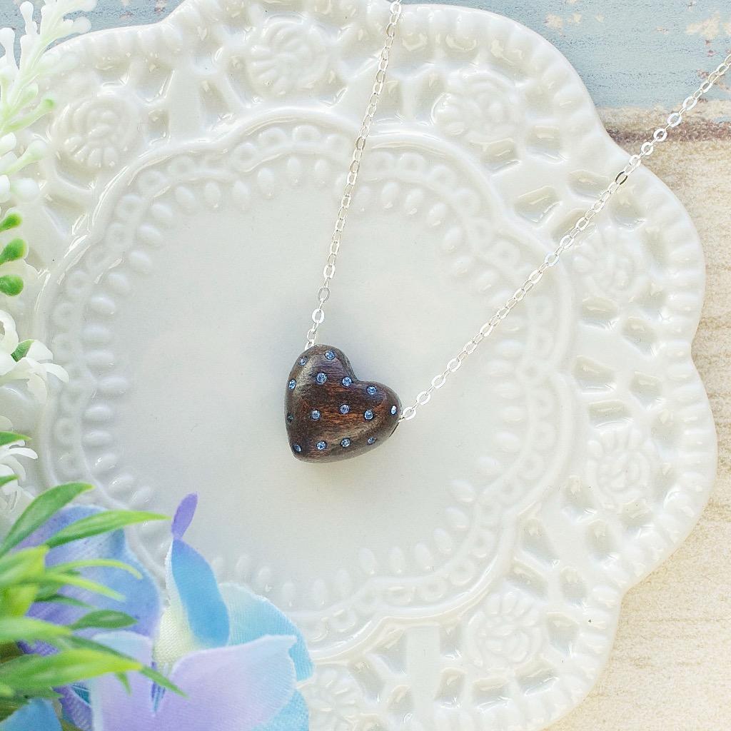心形巧克力藍色水晶原木項錬   禮物訂製